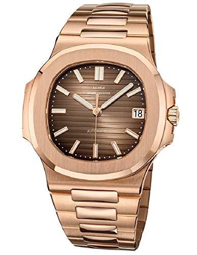 Sportlich Elegante Herren Automatik Uhr Modell Nautiker, entspiegeltes Glas, massives Armband, 2813 Uhrwerk, Gold/Bronze