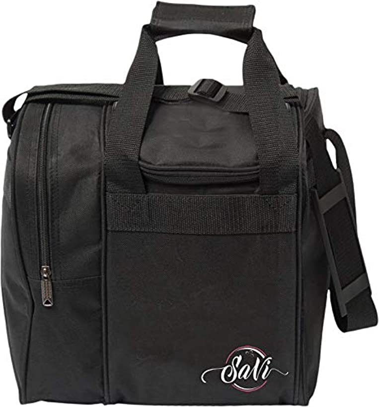 SaVi Black Single Bowling Bag- 1 Bowling Ball Single Tote w/Adjustable Shoulder Strap- Fits Single Pair of Women's Bowling Shoes up to Size 11