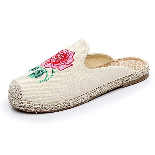 SLAYY Sandalias de Lino de patrón único de Las Mujeres, Zapatillas de Bordado de Moda para Damas, Zapatos de Tela de talón Abierto White-39