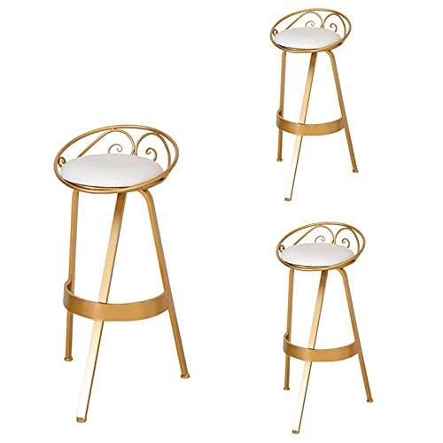VERDELZ Bar Stool Modern Home Desk Chair Set Of 3 Breakfast Stool, 360° Rotating Seat, Modern Wrought Iron Welding High Load Capacity