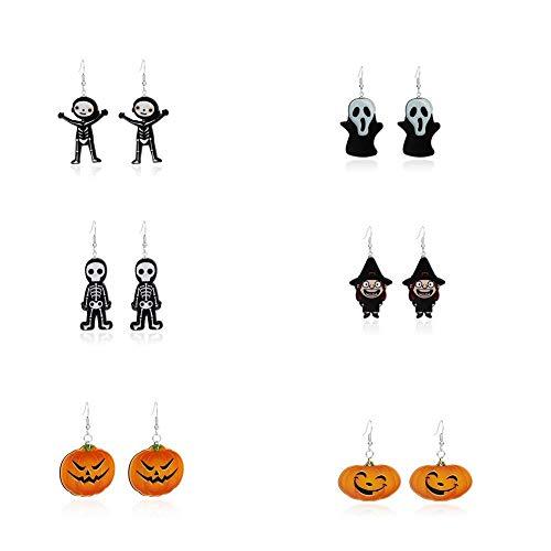 AJH Halloween lustige Schädel und Geist personalisierte Ohrhaken, Smiley Kürbis Acryl Ohrringe Ohrringe (6 Paare)