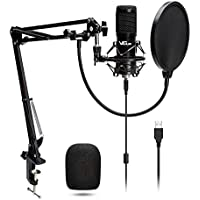 VeGue USB Condenser Microphone Kit for Game, Stream, Podcast, Recording Music, Voice (Black)