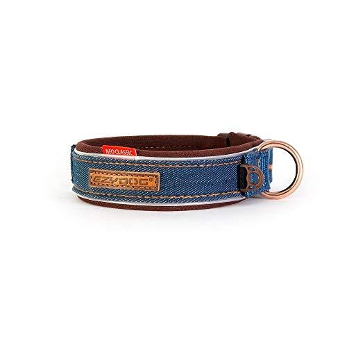 EzyDog Hundehalsband für Große, Mittelgroße, Mittlere & Kleine Hunde Größen - Halsband Hund Neopren Gepolstert, Wasserfest, Reflektoren für Perfekte Sichtbarkeit (M, Denim)
