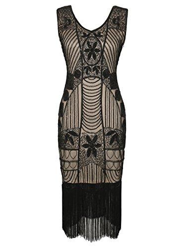 PrettyGuide Donne 1920 Gatsby Paillettes Frange Art D¨¦co Abito da Cocktail Flapper XL Nero