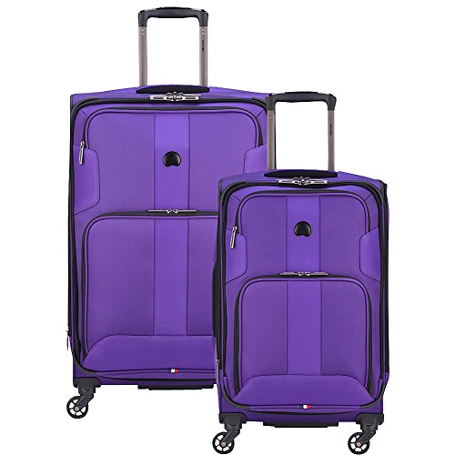 Delsey Paris Luggage Sky Max 2 Piece Set Carry On & Checked Spinner Suitcase, Purple
