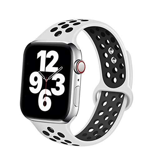 MMOO Correa De Silicona para Apple Watch Band 38Mm 42Mm Accesorios Correa Deportiva Transpirable Pulsera para Iwatch Serie 5 4 3 Se 6 44Mm 40Mm, Blanco Negro 21, SM