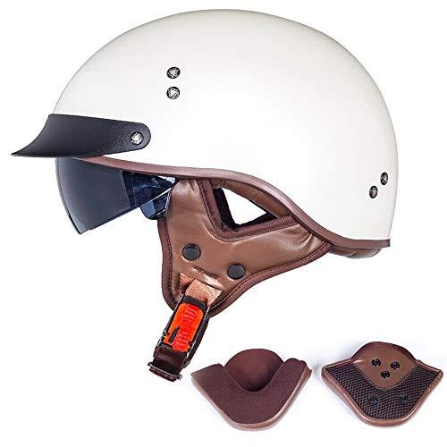 Skingo Cromwell Halbhelm, Retro-Harley, Motorradhelm, Integralbrille, DOT/ECE M=(57~58CM) D