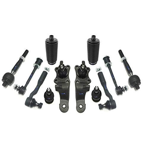 PartsW 12 Pc Front Suspension Kit for Toyota Tundra 00-02 / Upper & Lower Ball Joints, Inner & Outer Tie Rod Ends, Sway Bar End Link, Rack & Pinion Bellow Boots