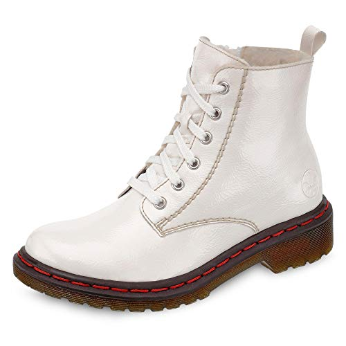 Rieker Damen Stiefeletten Y8210, Frauen Schnürstiefelette, Stiefel Chukka Boot halbstiefel schnür-Bootie gefüttert Damen,White,36 EU / 3.5 UK