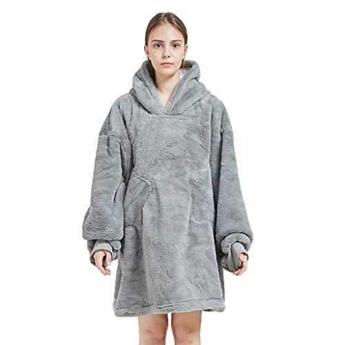 XJJZS Manta Perezosa suéter con Capucha Ocio cálido Pijama TV smbalet otoño e Invierno Material cálido Peluche de Color sólido (Color : Gray)