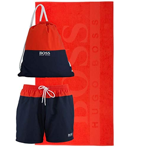 BOSS Beachset Badeshorts,Badetuch,Rucksack Gr.L Fb. 844 Navy Orange