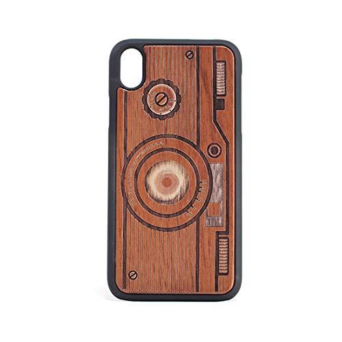 Compatibele Vervangings Patroon van de Camera Shockproof PC + Wood beschermhoes for de iPhone XR Accessory