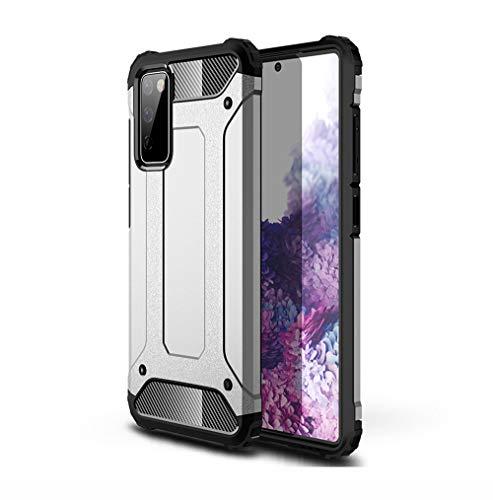 GOGME Hülle für Samsung Galaxy S20 FE (Fan Edition) 5G/4G, Komplette Hybrid-Stoßabdämpfende Hülle, Outdoor Handyhülle Tough Silikon TPU + 360-Grad-Ganzkörper Schutzhülle Gegen Stöße, Silber