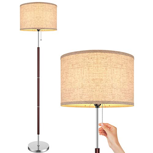 Modern Floor Lamp for Bedroom - Stand Up Reading Lamps for Living Room, ContemporaryOffice Lighting with Beige Drum Fabric Shade, Farmhouse Pole Lamp, Corner Tall Standing Lamp Kids-Pull Chain