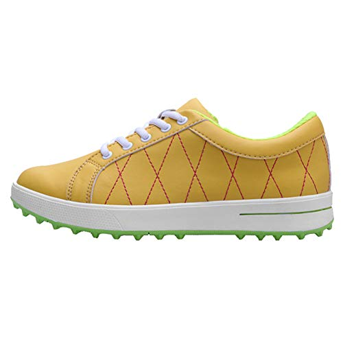 CGBF- Lace Up Golfschuhe für Damen Wasserdicht Anti-Rutsch Casual Sportschuhe Leichte Atmungsaktive Sneakers Verschleißfeste Laufschuhe, Gelb - gelb - Größe: 38 EU