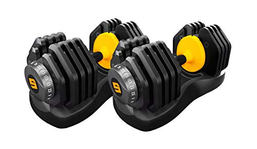 PAIR of ADJUSTABLE DUMBBELLS 2.5 to 25kg Total 50kg Weights Unisex Home Gym Studio Weight Strength Training Men and Women