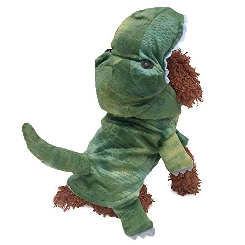 SEIS Halloween Dog Dinosaur Costume Pet Coat Jacket Green Autumn Winter Apparel Cat Hoodies Puupy Clothes French Bulldog Chihuahua (XS (Chest Girth 16.5'))