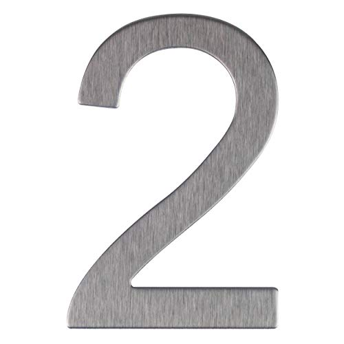 Lettera e Numero civico in acciaio inox opaco, adesivo, altezza 76 mm, numero civico design (2)