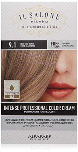 Il Salone Milano Permanent Hair Color Cream - 9.1 Light Iced Blonde Hair Dye - Professional Salon - Premium Quality - 100% Gray Coverage - Paraben Free - Ethyl Alcohol Free - Moisturizing Oils
