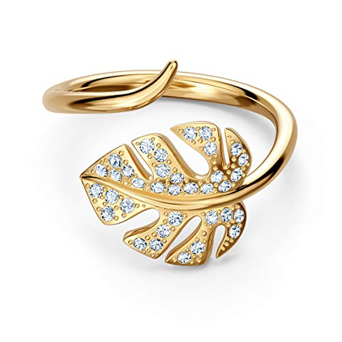 Swarovski Tropical Leaf Offener Ring, Weiß, vergoldet