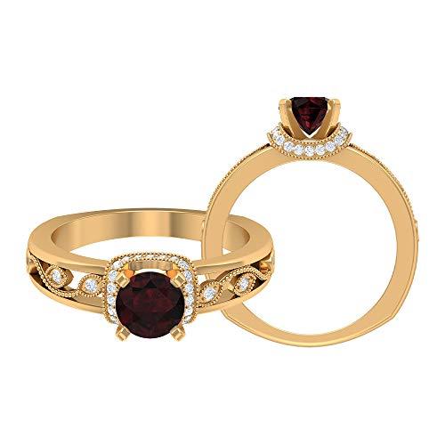 Rosec Jewels - Anillo solitario de granate 3/4 quilates con acento de diamante, anillos de compromiso vintage para mujer (5,5 mm, punta redonda, granate), 14K Oro amarillo, Size:EU 60