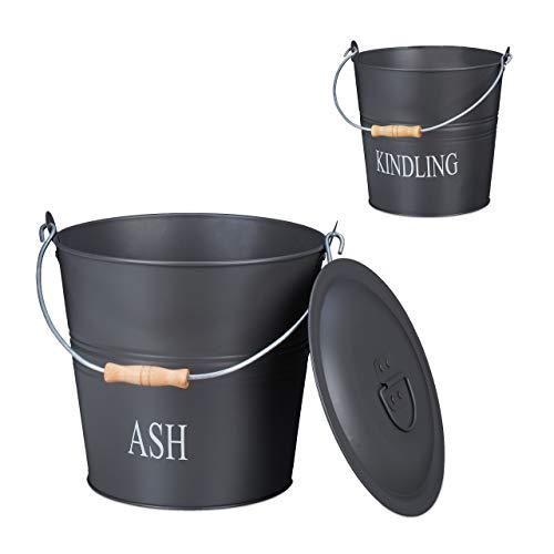Relaxdays Ascheeimer Set, je 12 Liter, Aschetonne mit Deckel, Metalleimer zur Kaminholz Aufbewahrung, dekorativ, grau