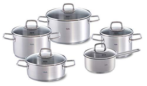 Fissler Viseo roestvrij stalen kookpannenset, 5-delig, potten met glazen deksel, inductie, alle warmtebronnen (3 kookpannen, 1 braadpan, 1 steelpannen)