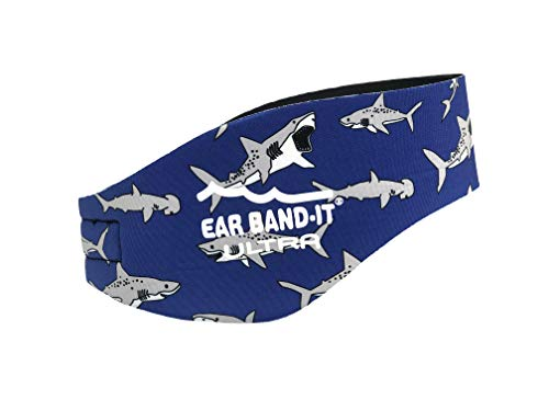 Ear Band-It Ultra Swimming Headband - Best Swimmer's Headband - Keep Water Out, Hold Earplugs in - Doctor Recommended - Secure Ear Plugs - Invented by ENT Physician (Sharks, Medium (Ages 4-9))