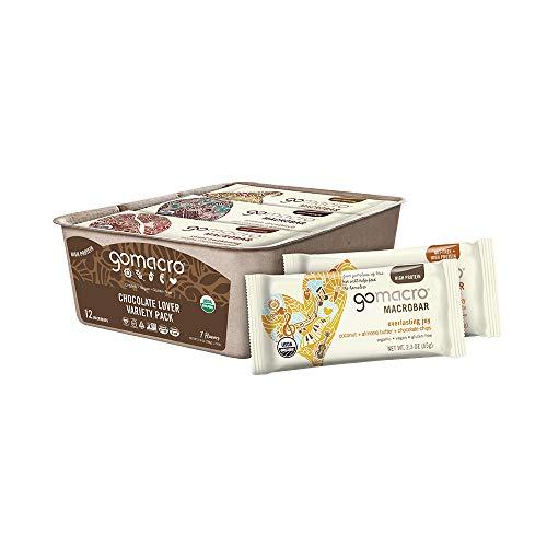 GoMacro MacroBar Organic Vegan Protein Bars - Chocolate Lover Variety Pack (2.3-2.4 Ounce Bars, 12 Count)