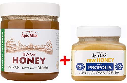 【Amazon.co.jp限定】 はちみつ 蜂蜜 ハチミツ 生 2個組 セット (フォレストハニープロポリスハニー150+ 390g) Raw Honey Set Forest Raw Honey 624g & Propolis PCF 150+ 390g