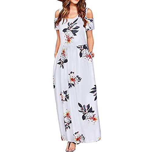 Cold Shoulder Dress for Women,Summer Short Sleeve Casual Pockets Long Maxi Dress Boho Beach Dress Long Sundress