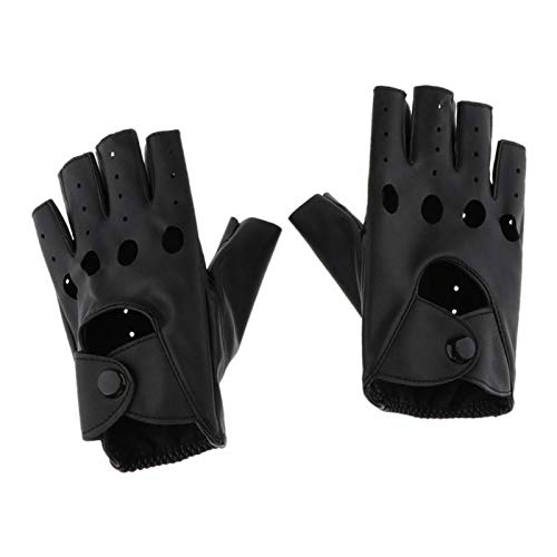 Hellery Damen Lederhandschuhe fingerlos Fingerhandschuhe Leder-Handschuhe Biker Fingerlinge Halbfinger Handschuhe - Länge 15,5cm