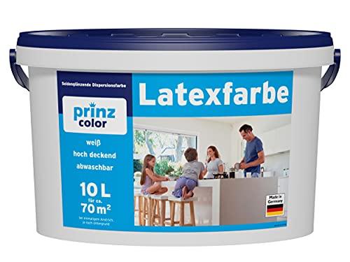 prinzcolor Premium Latexfarbe abwaschbare Wandfarbe weiß Weiß 10l