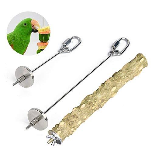 2 piezas soporte para alimentos para pájaros alimentador para loros frutas verduras pinchos de acero inoxidable para colgar alimentación herramienta de tratamiento con soporte de zanthoxylum