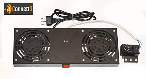 Módulo 2 Ventiladores Conector con termostato para armarios Rack de Pared Color Negro