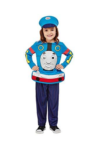 Smiffys 52293T2 Offiziell Lizenziertes Thomas, die kleine Lokomotive Kostüm, Unisex, blau, Toddler-3-4 Years