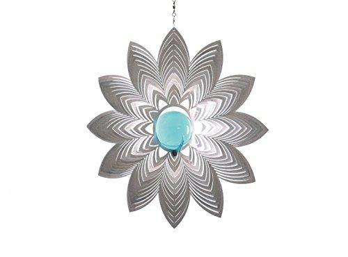 Illumino Windspiel Azalea für den Garten aus Edelstahl | Fantastische Lichtreflektion mit 50mm Türkiser Glaskugel | Rostfreies Metall | Garten-Dekoration für draußen zum Aufhängen