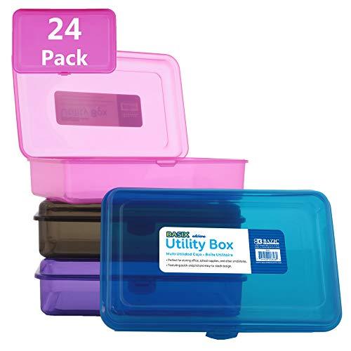 BAZIC Multipurpose Utility Box, Clear Plastic Color Storage Case, Cubby Cubes Bin Pen Pencil Boxes Storage, Desk Plastic Organizer Case, for Student Kids Arts & Crafts Supplies Office, 24-Pack