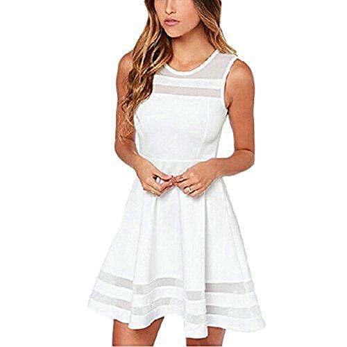 iPretty elegant Damen Sommerkleid ärmellos Kleid Damen kurz Rock Mini Kleider Cocktaikleid Partykleid Abendkleid