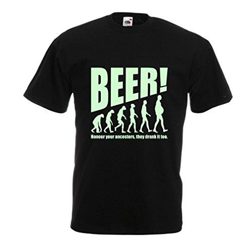 N4534 Camiseta The Beervolution (XXXXX-Large Negro Fluorescente)