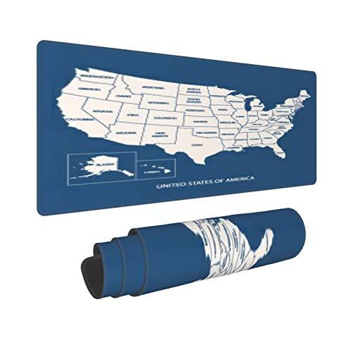 Extra Grande Alfombrilla de Ratón,XL-75 x 40 x 0.3cm,Mapa DE Estados Unidos con Nombre DE PAÍSES, Mapa DE Estados Unidos DE AMÉRICA,para el Trabajo Juego Computadora Portátil