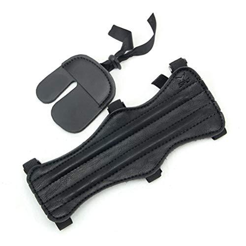 LIOOBO Protector de Dedos Antebrazo Soporte de muñeca Guardia del Dedo Guantes de Tiro Guantes de Tiro con Arco para Caza Tiro de Flecha Arco Color Negro