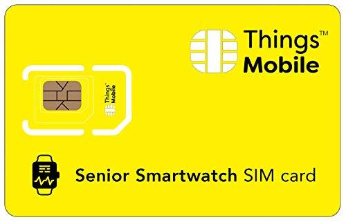 Tarjeta SIM para SMARTWATCH / RELOJ INTELIGENTE PARA PERSONAS MAYORES - Things Mobile - cobertura global, red multioperador GSM/2G/3G/4G, sin costes fijos, sin vencimiento. Crédito no incluido