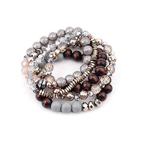 New 5 Pcs/Set Trendy Handmade Multilayer Women Bracelets Elastic Wood Beads Gold Silver Hematite Crystal Bracelet31 31