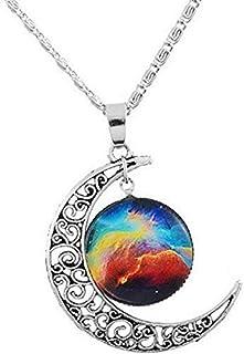 Legisdream Colgantes del Collar Luna Tallada y Medalla de Plata con un diseño Idea Galaxy Jewel Regalo para Cada ocasión