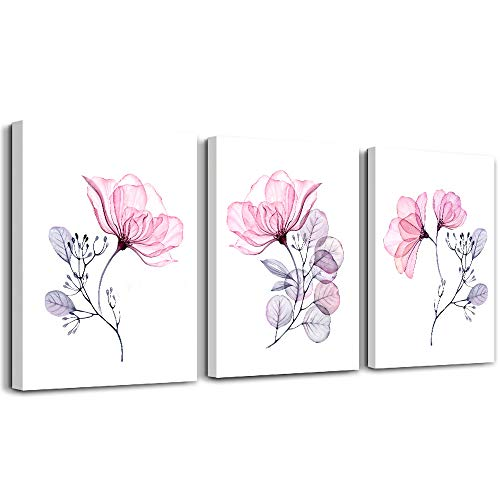 3 Piece Modern pink red Flowers Canvas Wall Art for Bedroom Living Room decor,Bathroom Wall Decor,3 Panels framed Wall Watercolor Painting Kitchen Home Decoration Canvas Print Artwork Wall Mural