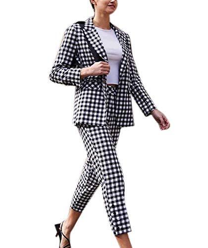 kewing Damen Langarm Tartan Kariert Lässige Arbeit Anzug Set Blazer Tops und Hosen