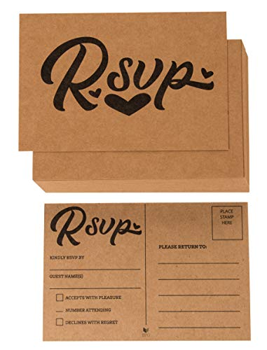 RSVP Cards - 60-Pack Kraft RVSP Postcards, Response Return Card for Wedding, Rehearsal Dinner, Baby Shower, Bridal Shower, Birthday Party Invitation, No Envelopes Needed, Rustic Design, 4 x 6 Inches