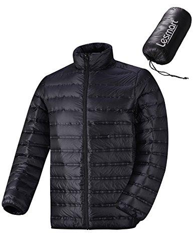 Herren Daunenjacke Ultraleicht Packbar Ski Soft Warme Regular Fit Größe L Schwarz