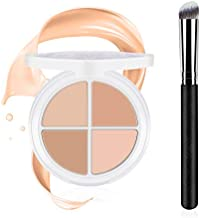Ownest 4 Colors Contour Concealer Palette,Concealer Cream Foundation Contouring Base Palette Moisturizing Contour Face Cream Highlighter Concealer Palette,with Brush-Set B